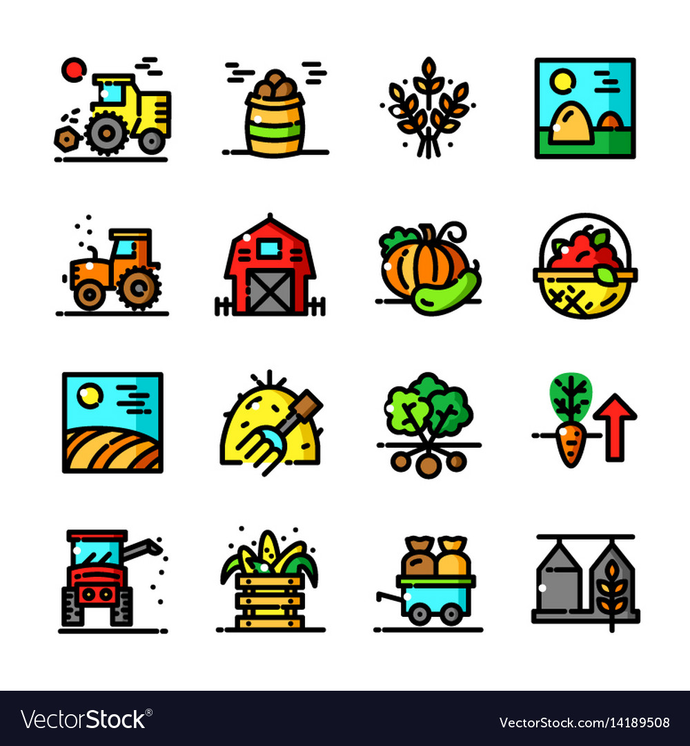 Thin line harvest icons set vector image