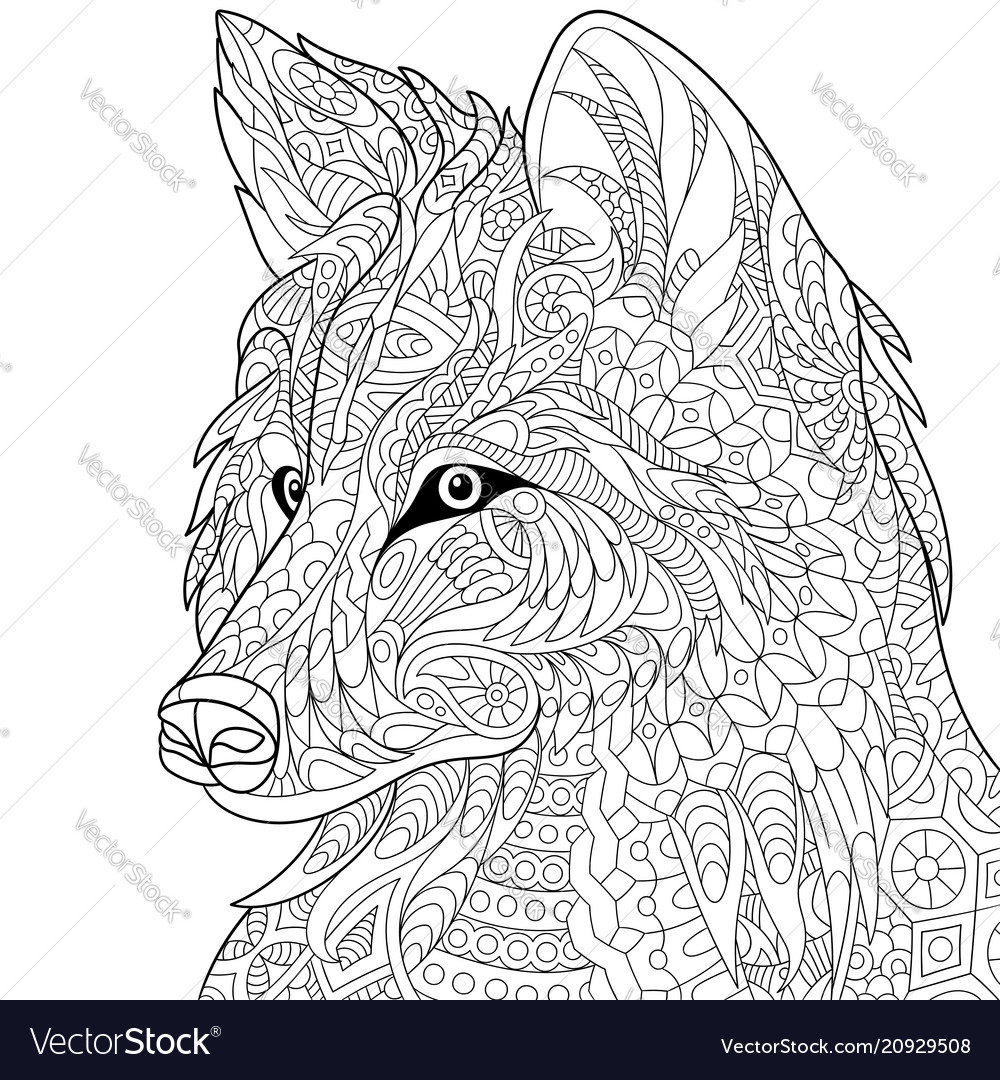 Wolf coloring page Royalty Free Vector Image - VectorStock