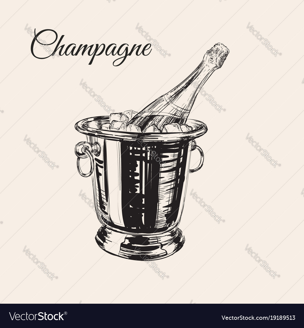 A bottle of champagne in a bucket with ice