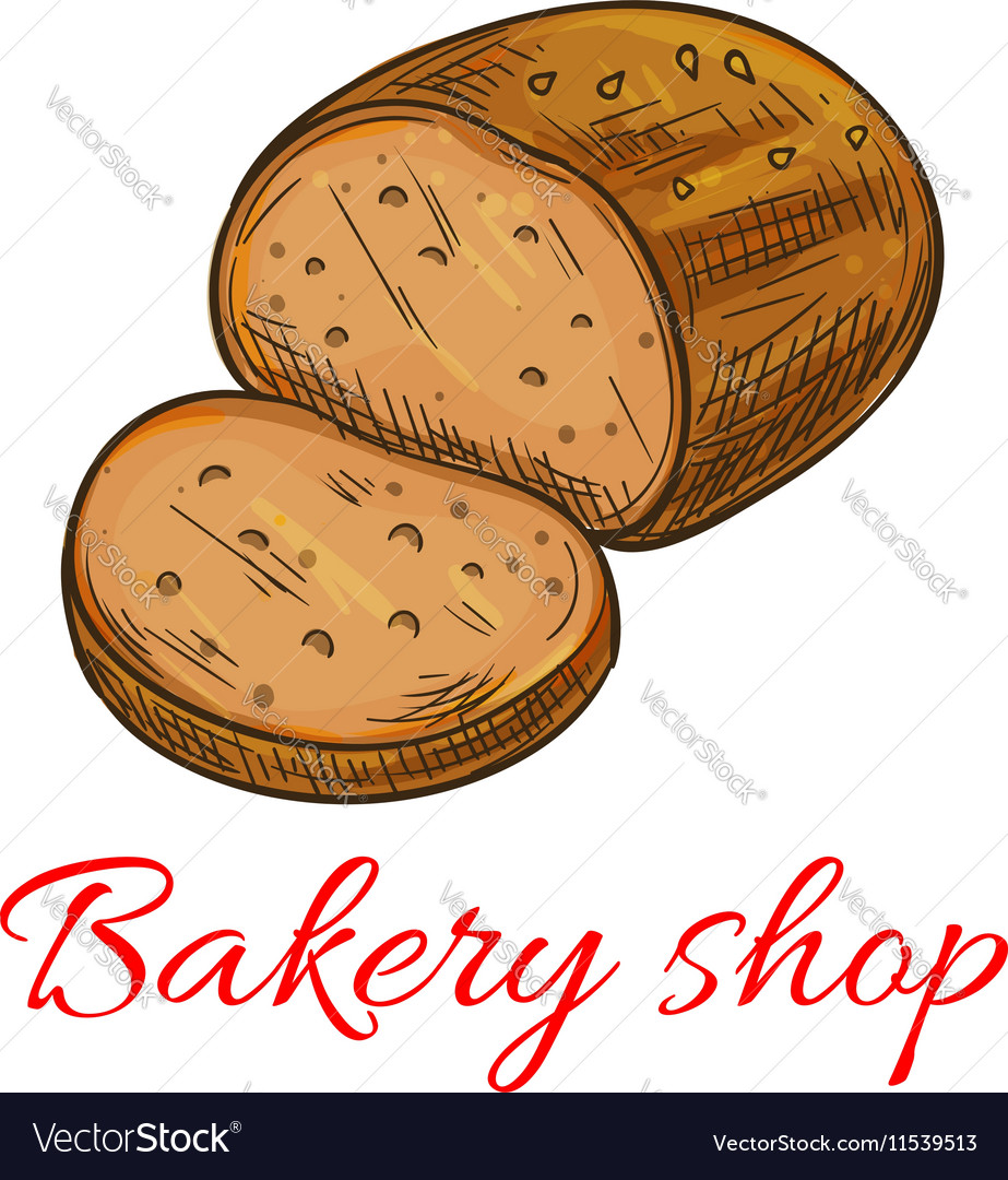 Bakery shop baked wheat and rye bread loaf icon