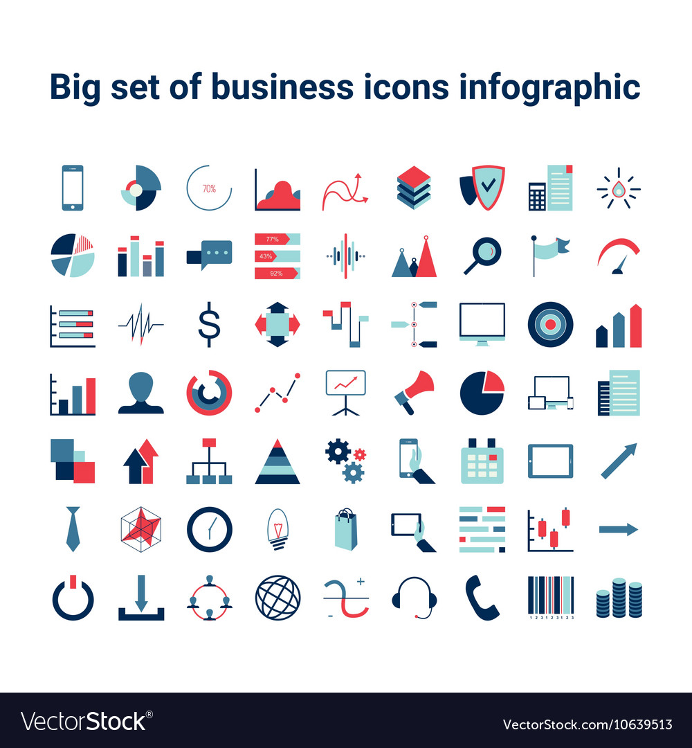 Business and infographic Icon set vector image