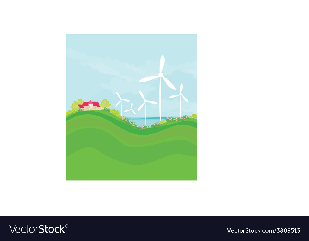 Ecology background with turbine and sky