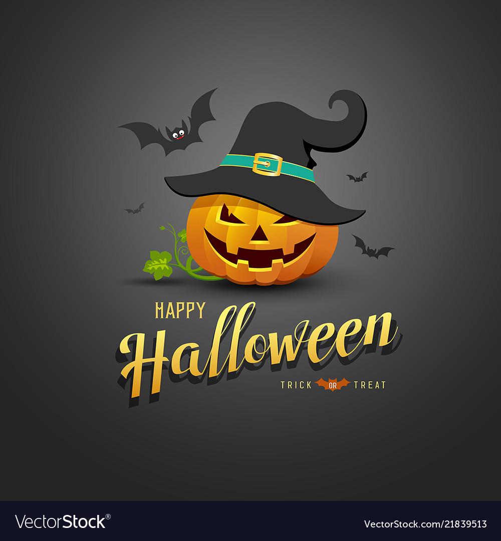 Happy halloween pumpkin wear black hats and bat