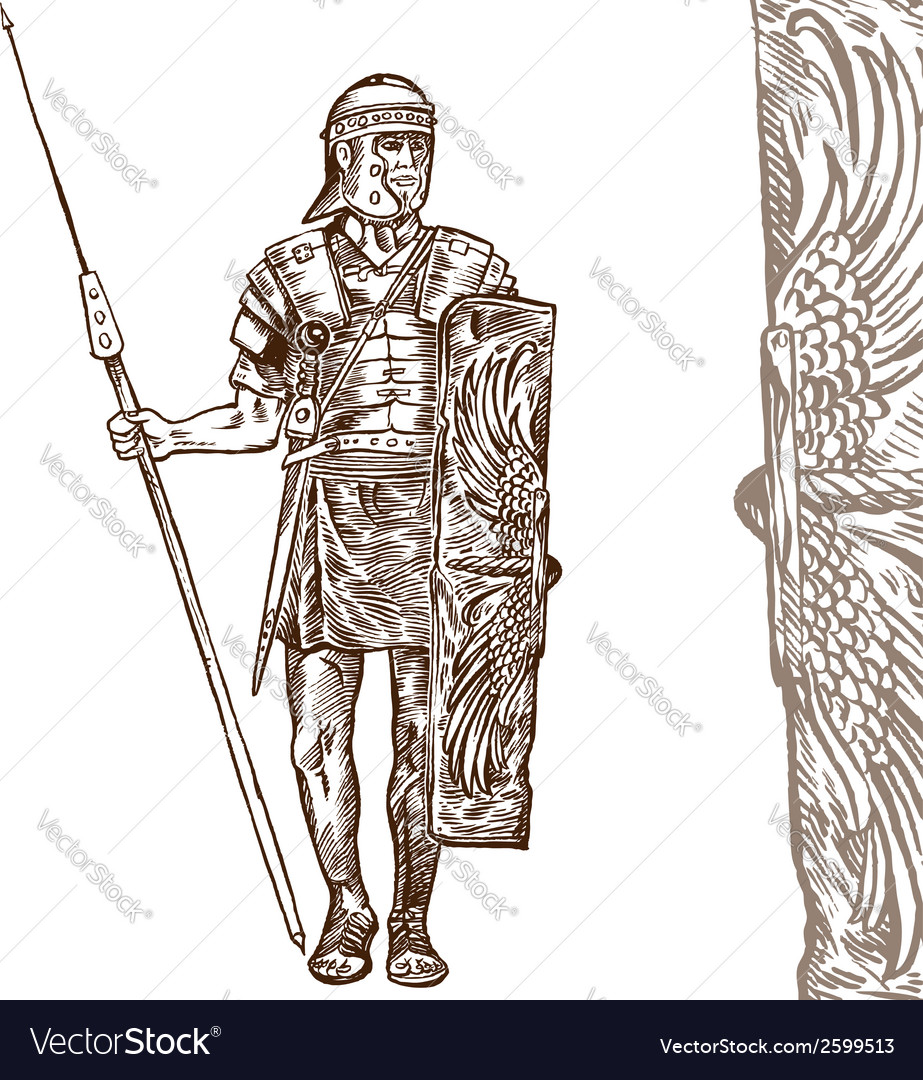Roman warrior hand draw