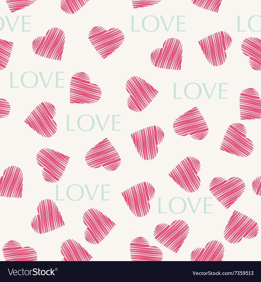 Seamless hearts pattern retro texture red and mint
