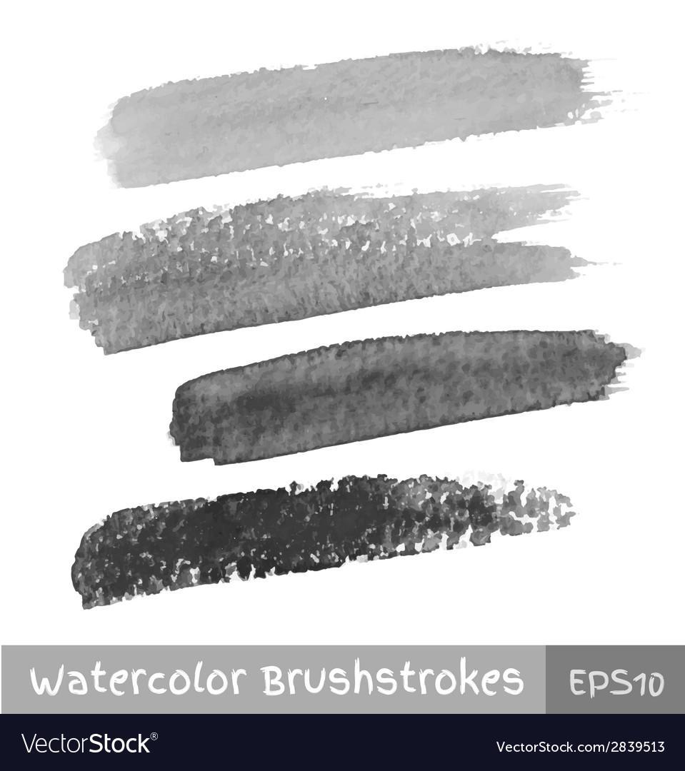 Set of Gray Watercolor Brush Strokes vector image