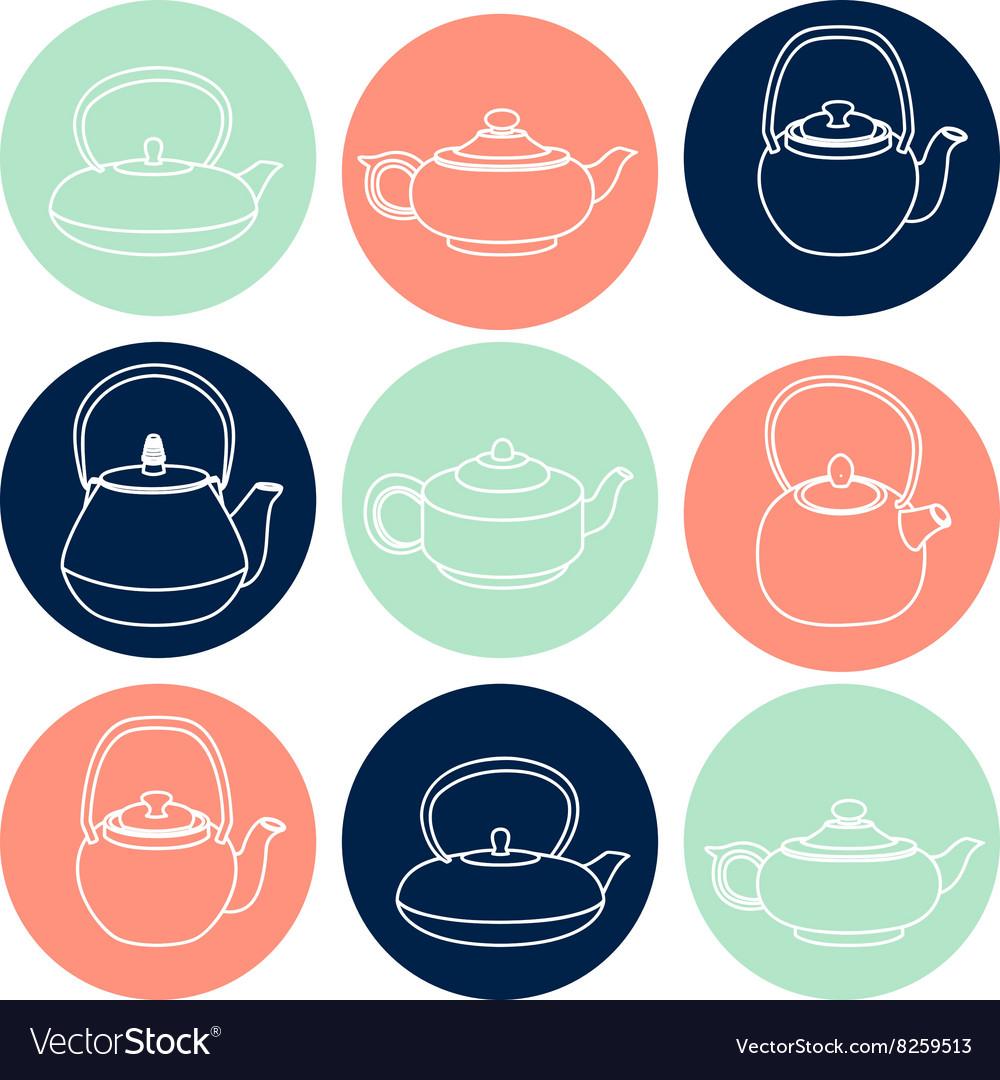 Set of white silhouettes teapots icons