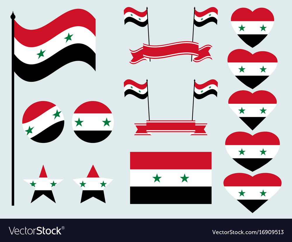 Syrian flag set collection of symbols flag
