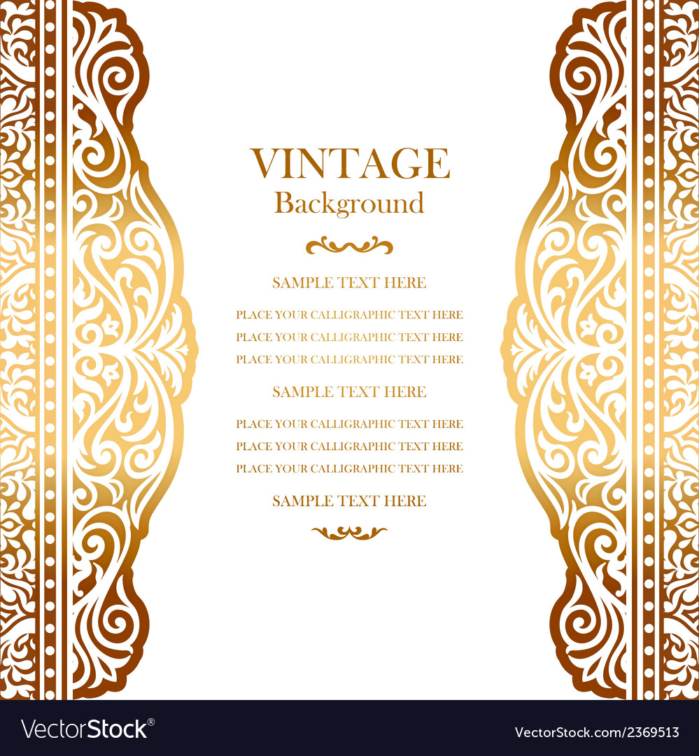 Wedding Gold Card With Lace Pattern