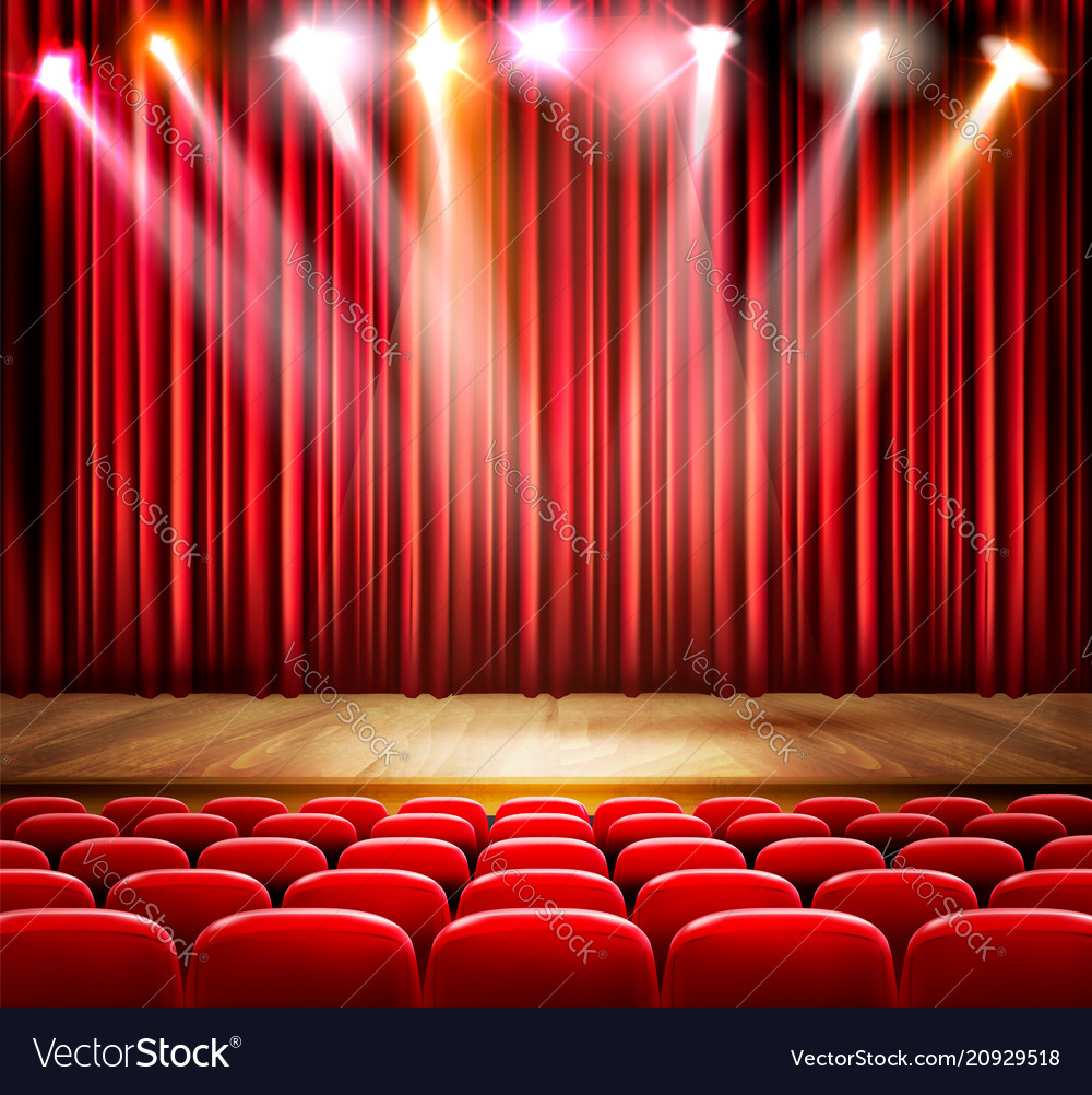A theater stage with a spotlight festival show