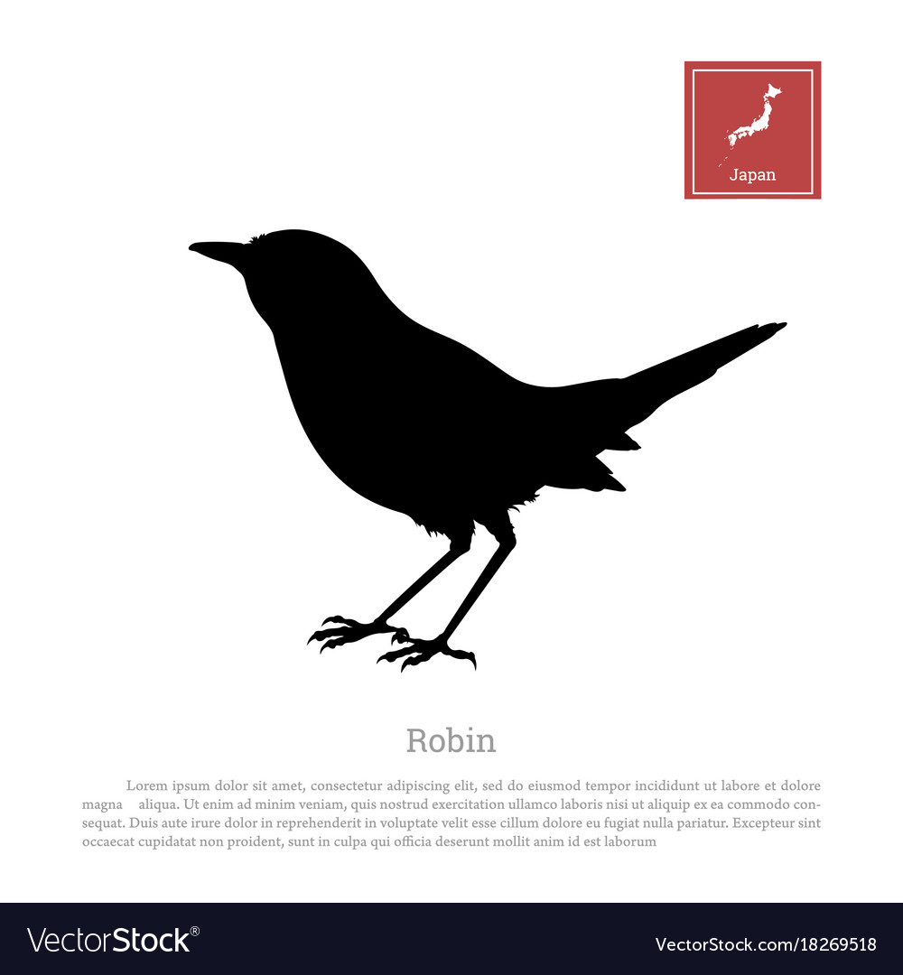 black silhouette of a japanese robin royalty free vector
