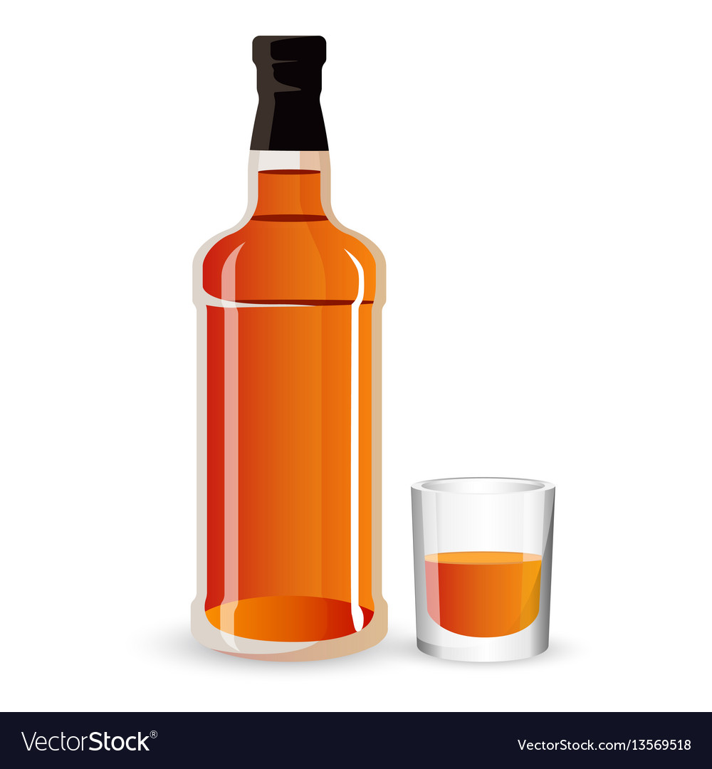 Bottle of alcohol drink and stemware whisky
