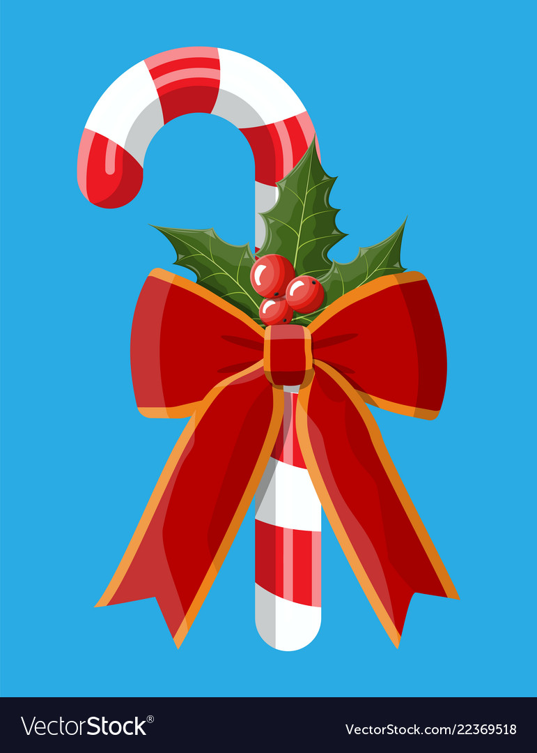 Christmas candy cane with red bow holly berries