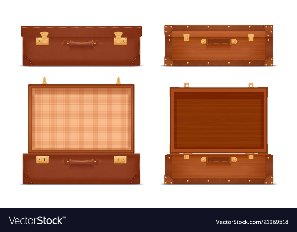Closed and opened vintage suitcases