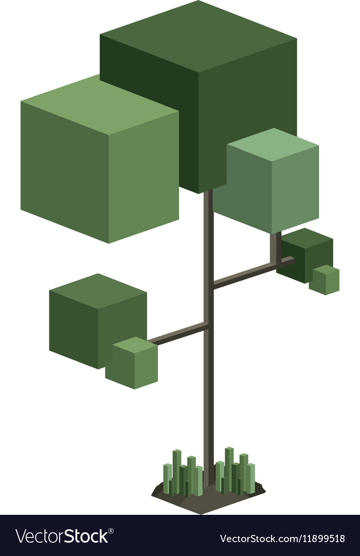 Colorful green tree pixel design