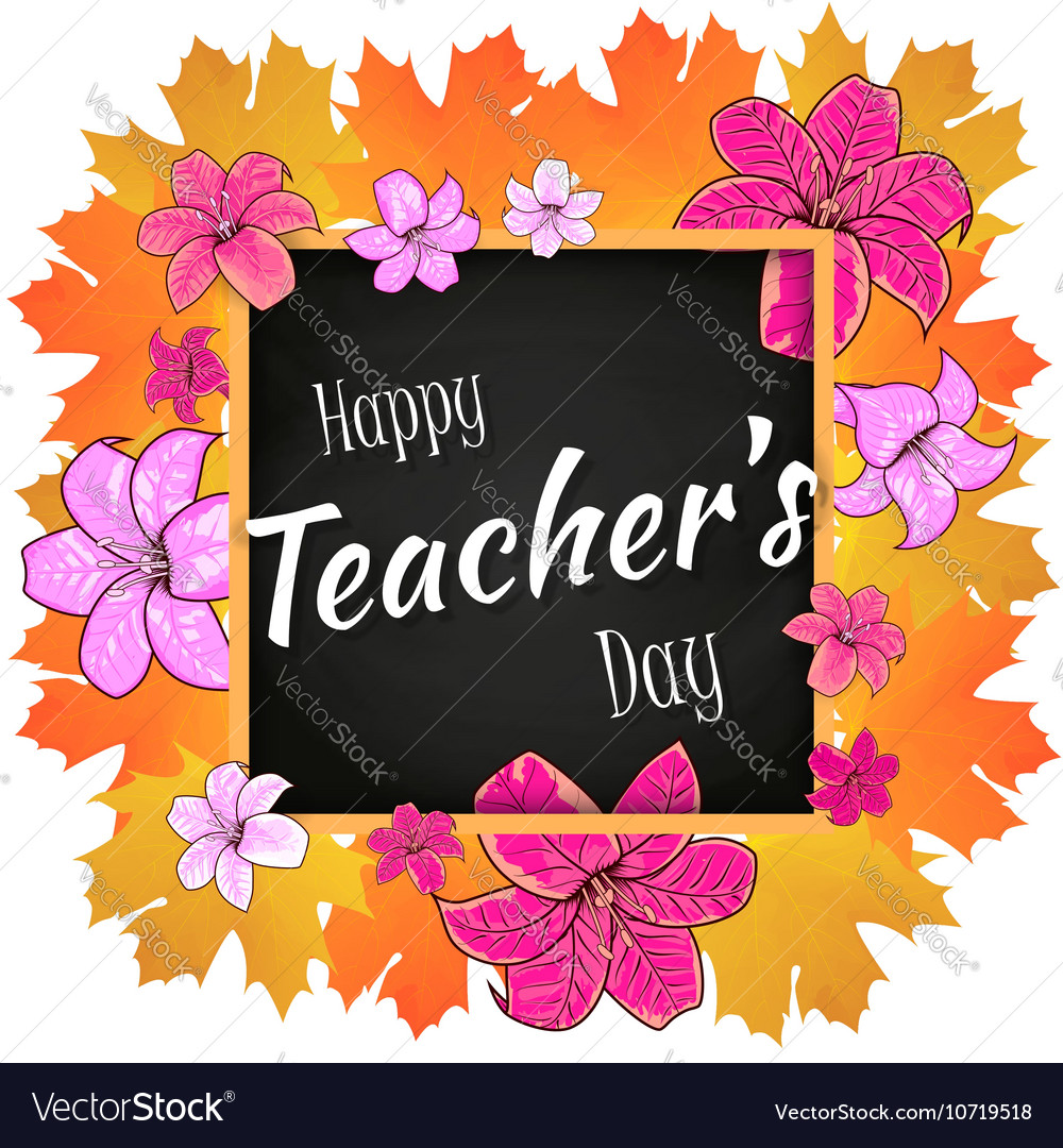 Congratulation happy teachers day with leaves vector image m4hsunfo