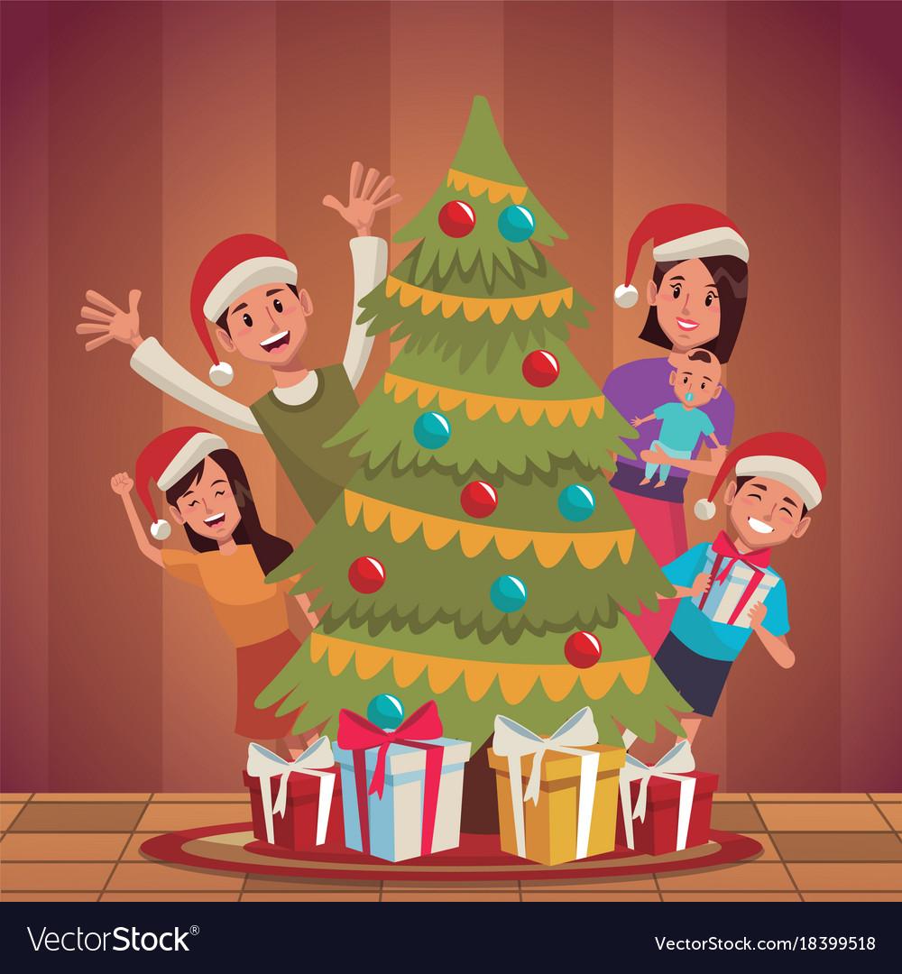 Family Christmas Cartoon Royalty Free Vector Image
