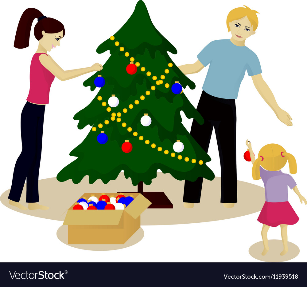 Family Decorate Christmas Tree Royalty Free Vector Image