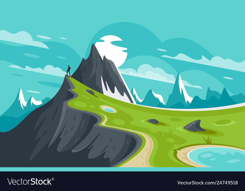Flat man on nature mountain background with sun