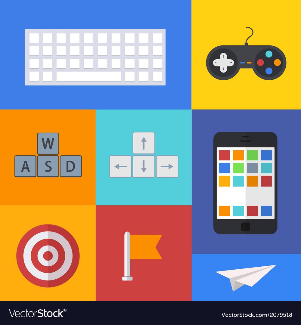 Flat modern icons set on sample backgrounds