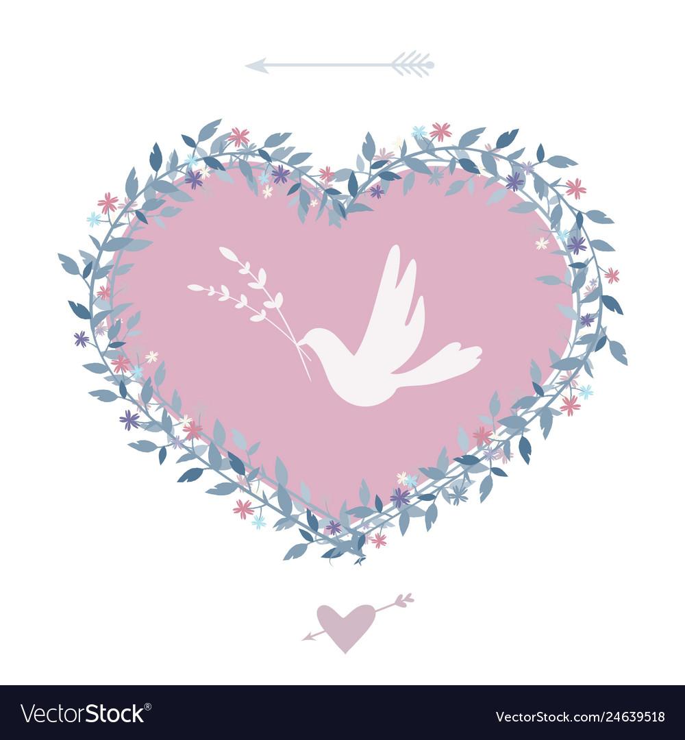 Flower heart with bird vintage design elements