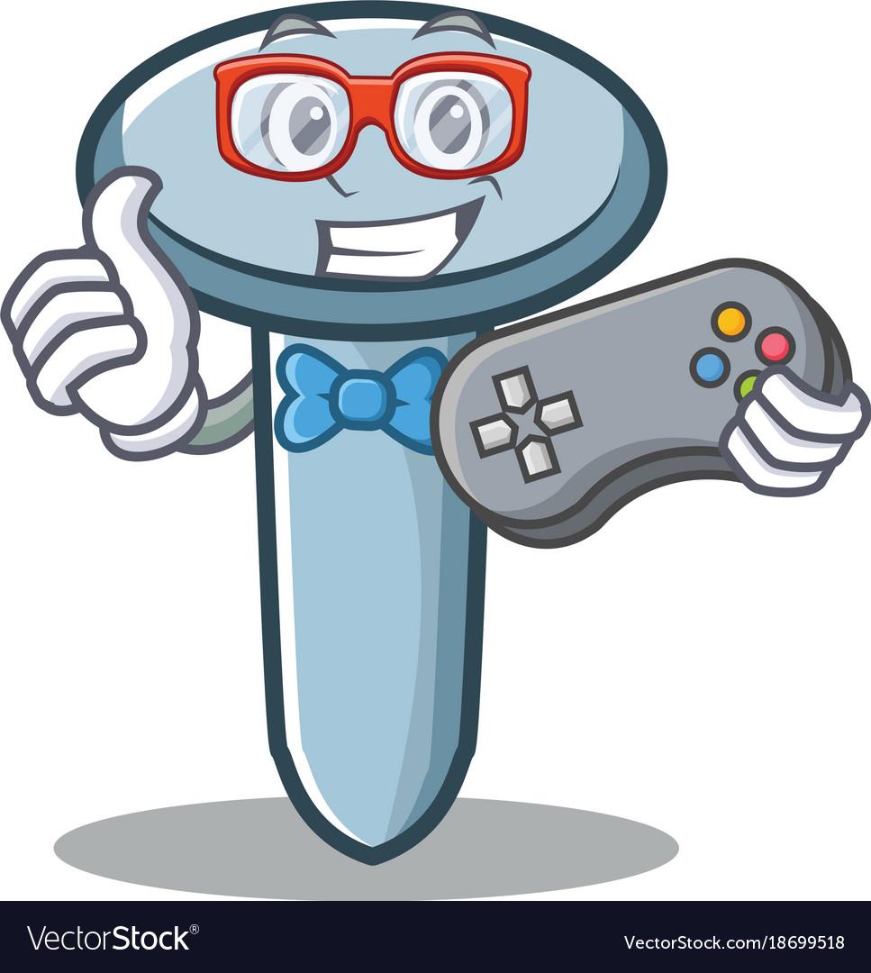 Gamer Nail Character Cartoon Style Royalty Free Vector Image