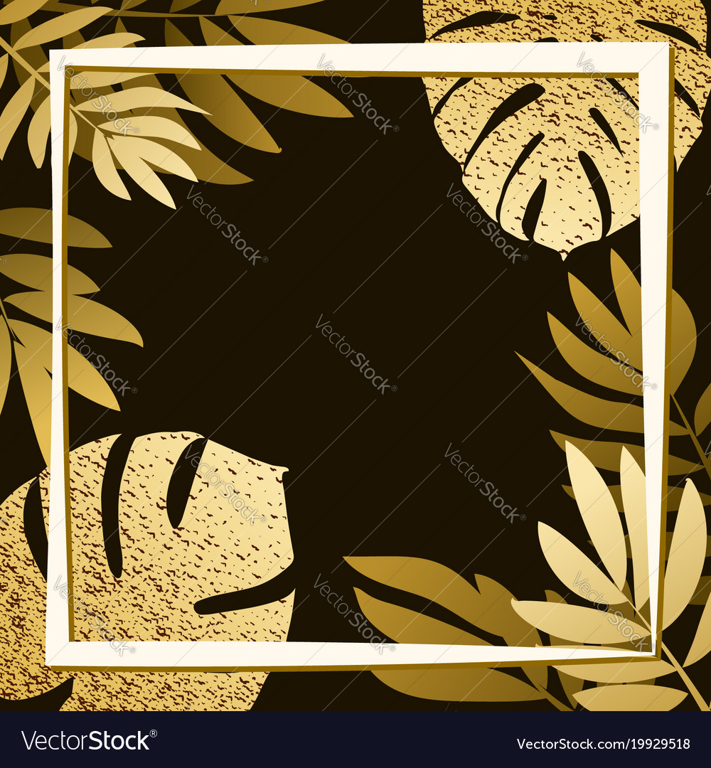 Golden tropical leaves on the dark background