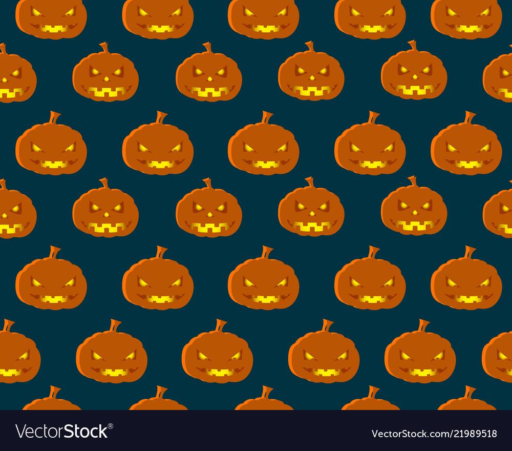 Halloween seamless pattern with orange pumpkins