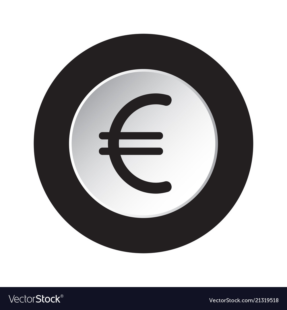 Round icon black and white - euro currency symbol