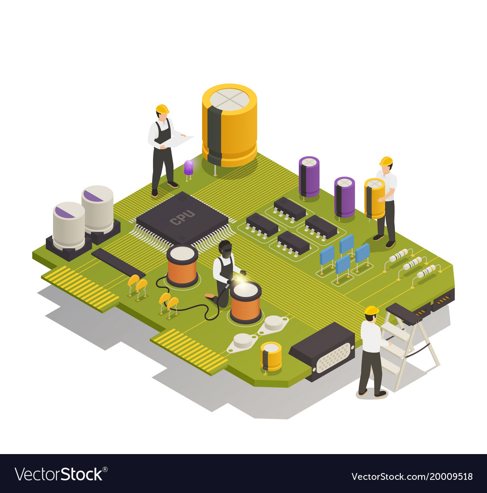 Semiconductor electronic components isometric vector image