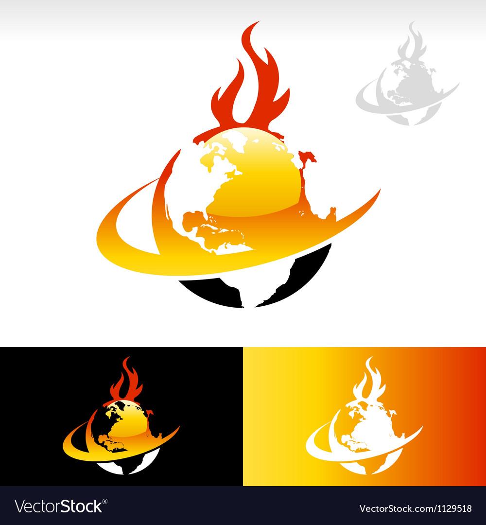 Swoosh Fire Earth Logo Icon