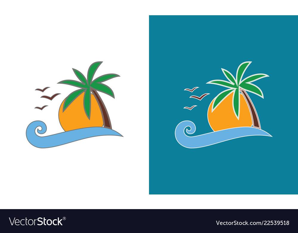 Wave beach holiday logo