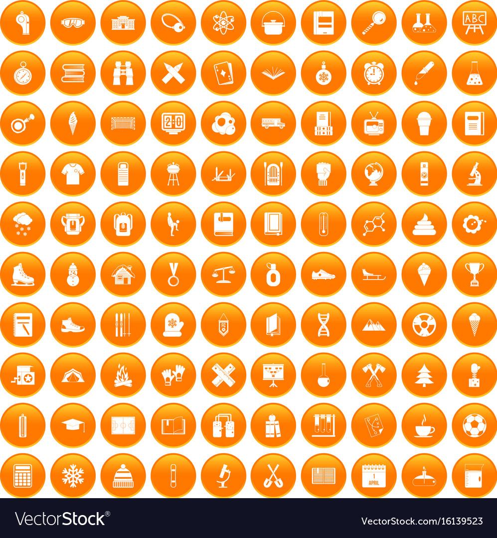 100 school years icons set orange vector image