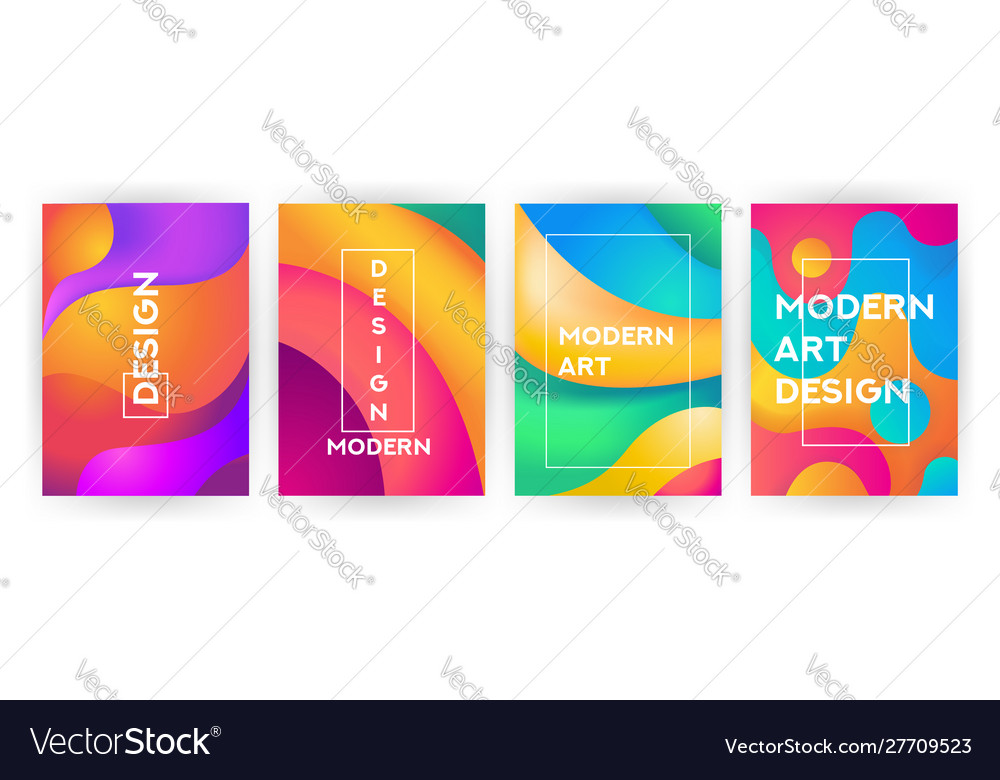 Abstract background set fluid geometric design vector