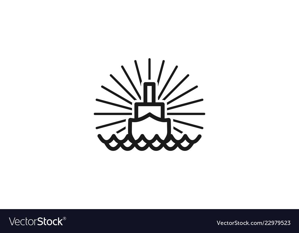 Boat mono line logo designs inspiration isolated