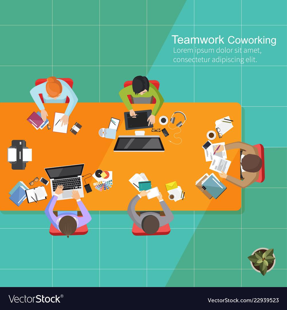 Business analysis teamwork flat design teamwork
