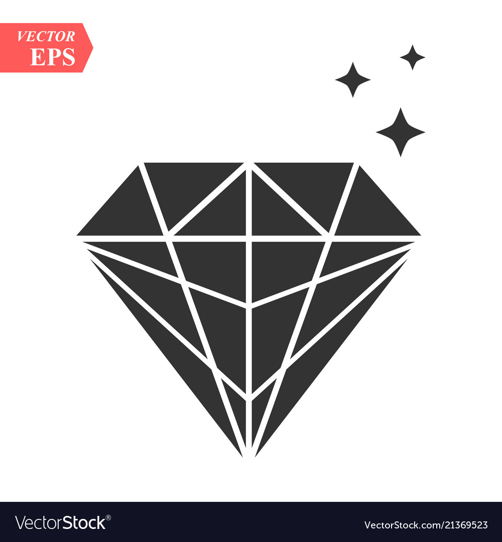 Diamond icon in trendy flat style isolated on