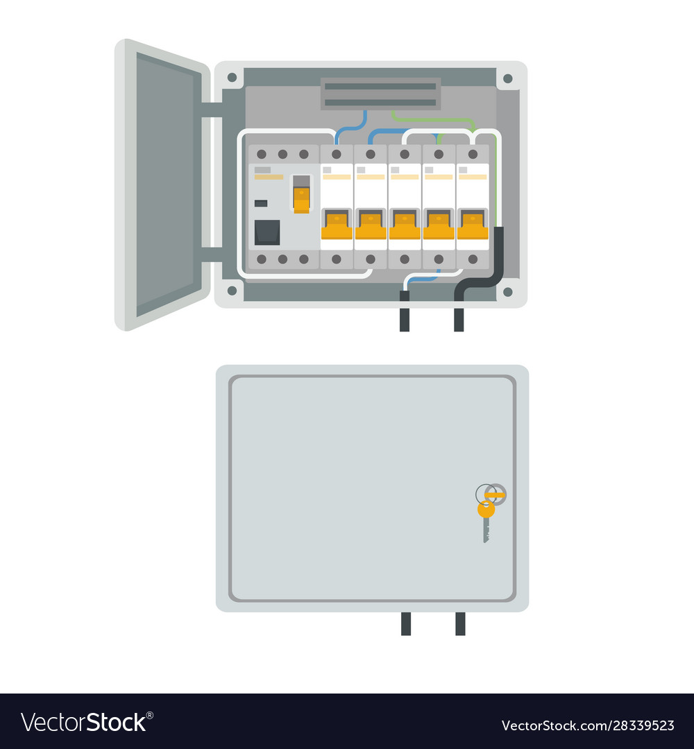 Fuse box electrical power switch panel Royalty Free VectorVectorStock