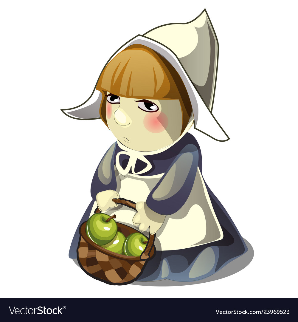 Girl with a basket filled with green apples