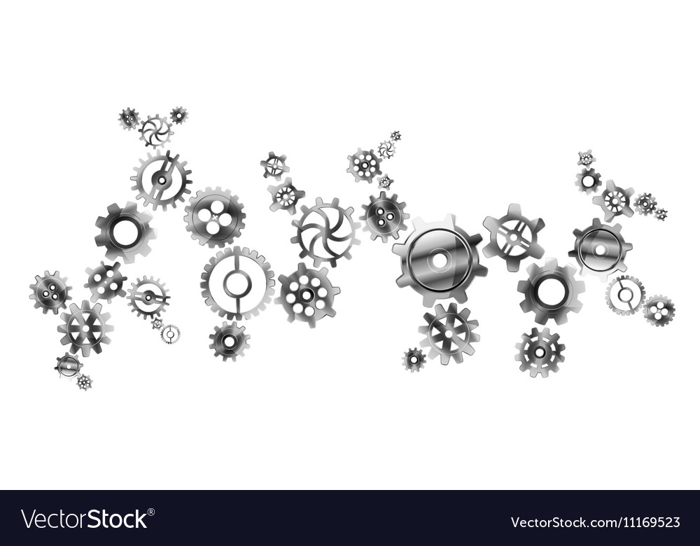 Glossy metal cogwheels arranged in complicated