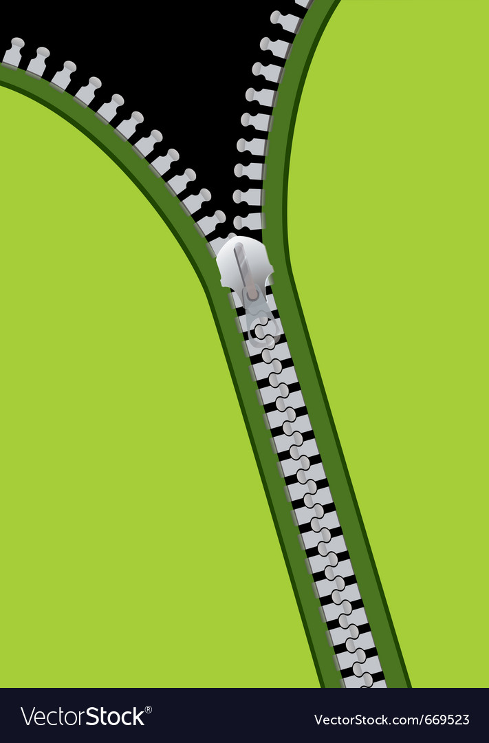Green material background with metal zip and copys vector image