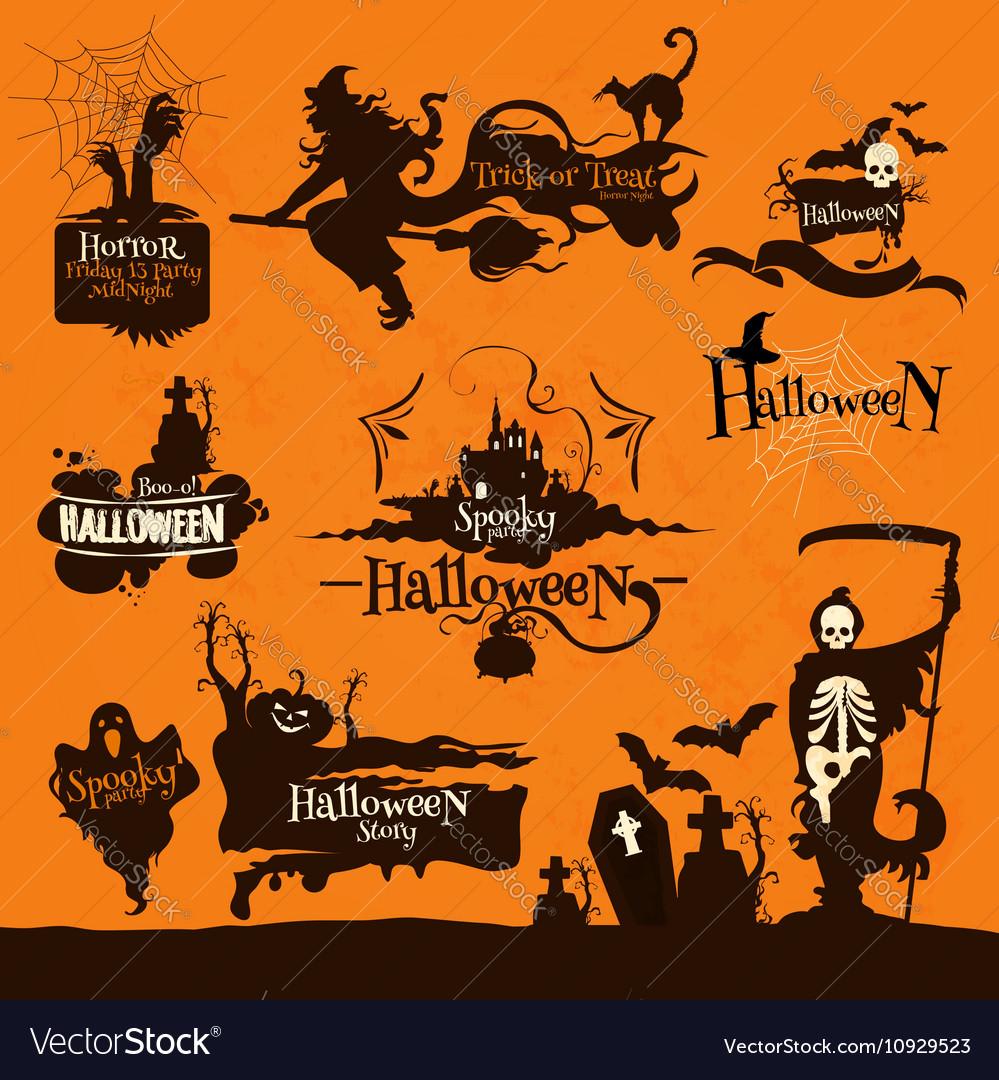 Halloween party decoration emblems