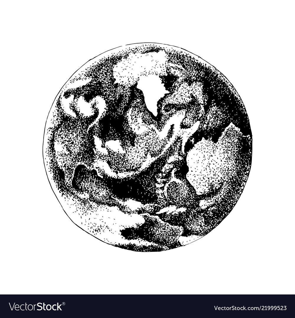 Hand drawn earth planet sky view