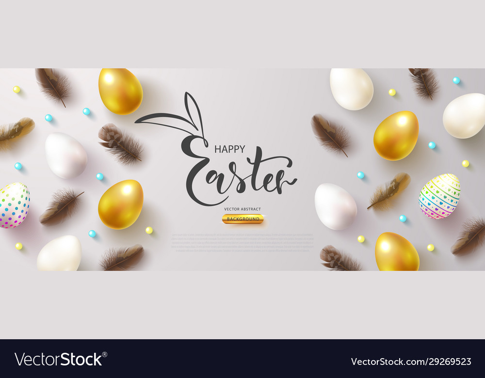 Happy easter banner with decorated eggs and