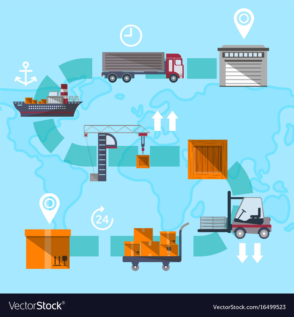Logistic management concept with goods route