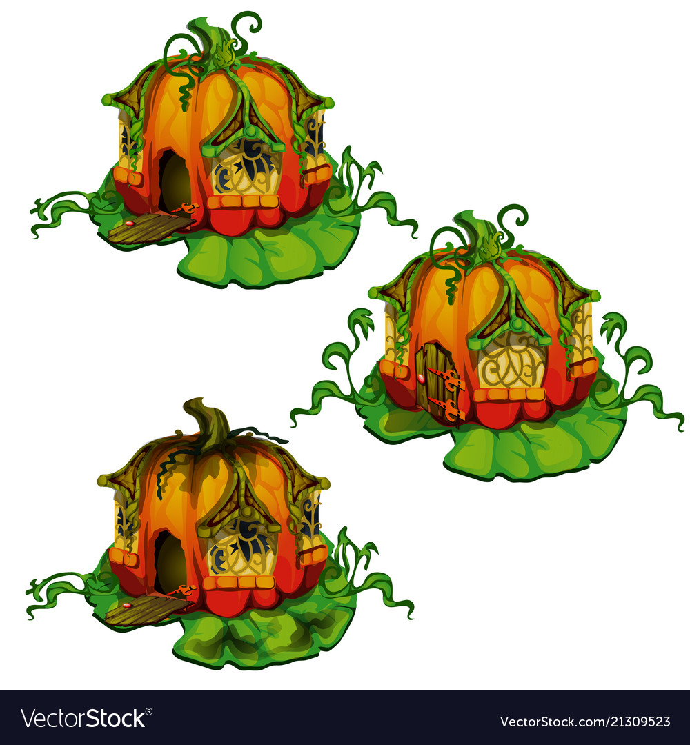 Set of fairy tale houses made out of pumpkins