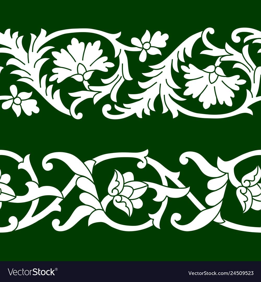 Set of seamless floral patterns tape
