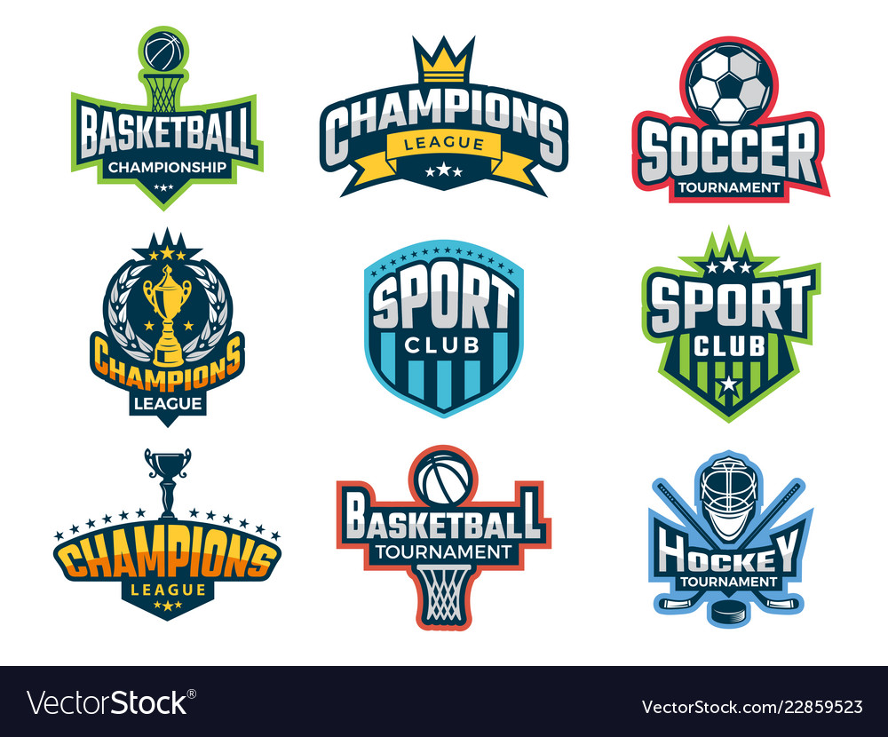 Sport logos emblem of college team cup