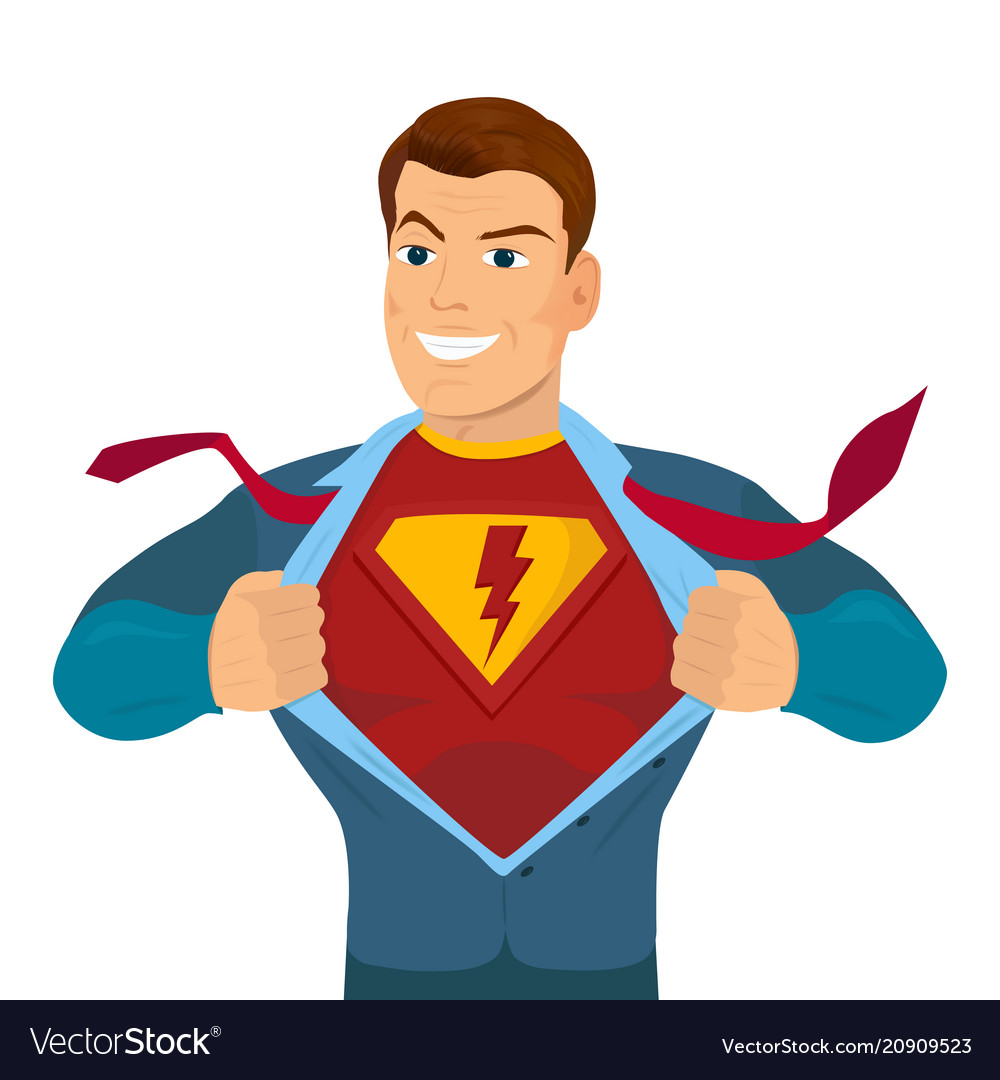Superhero tearing shirt and wearing costume