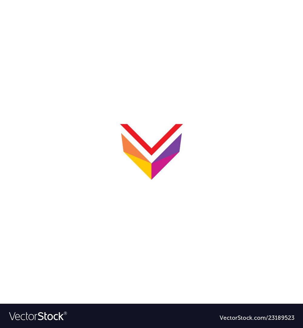 V colored modern logo